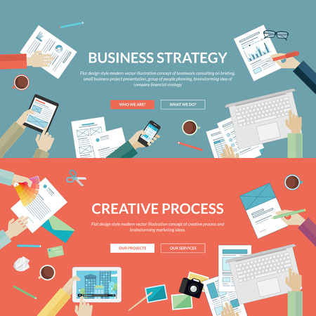 Set of flat design concepts for business strategy  Çizim