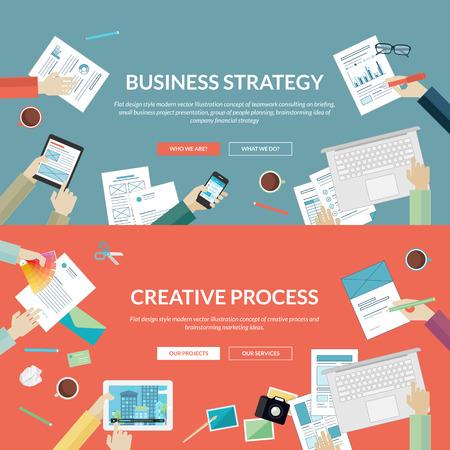 Set van platte design concepten voor business-strategie Stock Illustratie