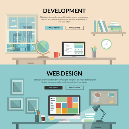 computers office: Set of flat design concept for web development  Concepts for programmer