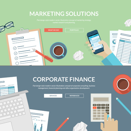 research: Set of flat design concepts for marketing solutions