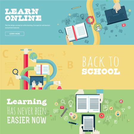 educación: Conjunto de conceptos de diseño de planos para la educación Vectores