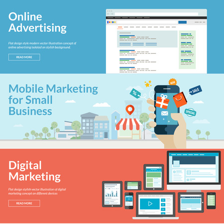 Conjunto de conceptos de diseño de planos para los conceptos de marketing para la publicidad online, marketing móvil y marketing digital