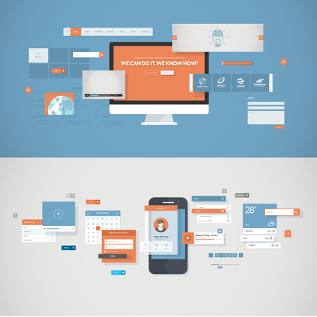 서비스 및 개발 과정 프레젠테이션 웹 배너에 포함 UI UX 요소와 모바일 앱 및 웹 사이트 디자인 개발을위한 평면 설계 개념의 설정 및 인쇄 재료