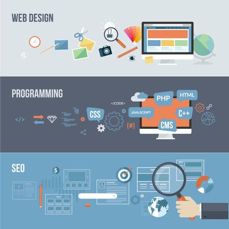 Zestaw płaskich koncepcji projektowych dla koncepcji rozwoju internetowej projektowanie stron internetowych, programowania i SEO