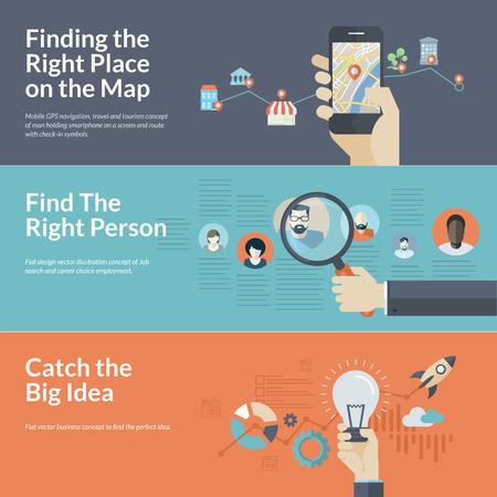 Satz flacher Design-Konzepte für mobile GPS-Navigation, Karriere und Unternehmenskonzepte für die Suche nach den richtigen Ort auf der Karte für Reisen und Tourismus, Mitarbeiterauswahl, große Idee in der Wirtschaft Vektorgrafik