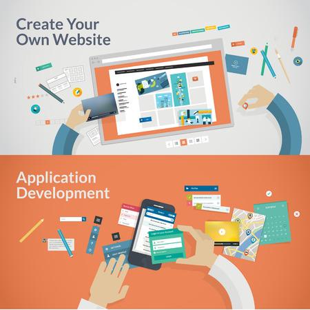 kódování: Sada plochých designových konceptů pro vývoj webových aplikací koncepce pro web design, programování a SEO Ilustrace