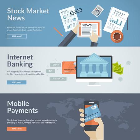 fondos negocios: Conjunto de conceptos de diseño de planos de noticias del mercado de valores, banca por internet y de pago por móvil Conceptos de banderas de la tela y los materiales impresos Vectores