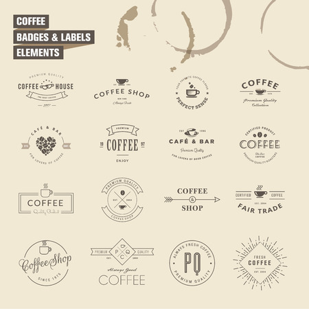 Set of badges and labels elements for coffee Vector