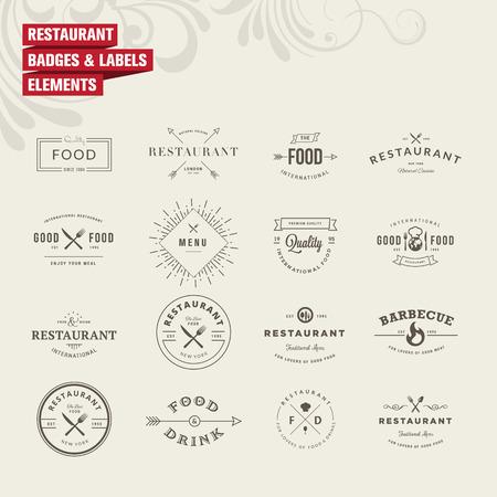vintage: Zestaw odznak i etykiet elementów dla restauracji