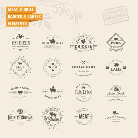 logos restaurantes: Conjunto de insignias y etiquetas de elementos para la carne y la parrilla
