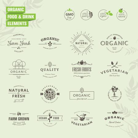 comida saludable: Conjunto de insignias y etiquetas elementos para alimentos y bebidas org�nicas