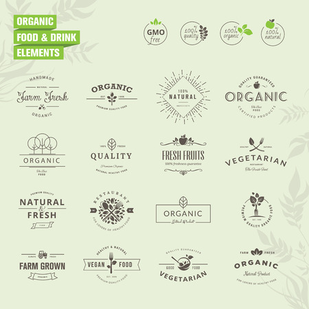 product healthy: Set di distintivi e di etichette elementi di cibi biologici e bevande