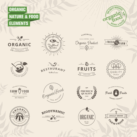 Set of badges and labels elements for organic nature and food Illustration