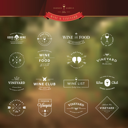 wineries: Set of vintage style elements for labels and badges for wine, vineyard, wine club and restaurant, on the vineyard background