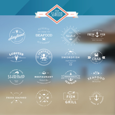 seafood background: Set of vintage style elements for labels and badges for seafood, on the sea background Illustration