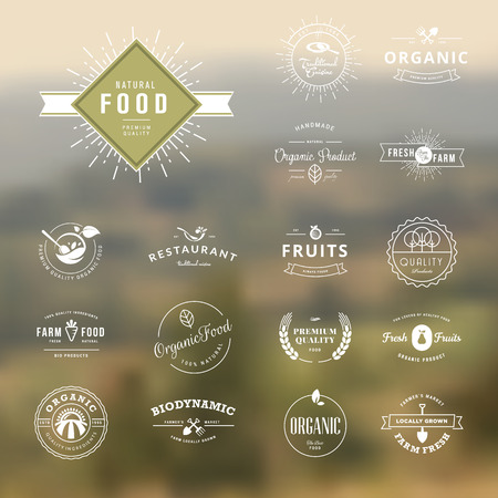 mercado: Conjunto de elementos de estilo vintage para etiquetas e emblemas para alimentos naturais e bebidas, produtos org Ilustração