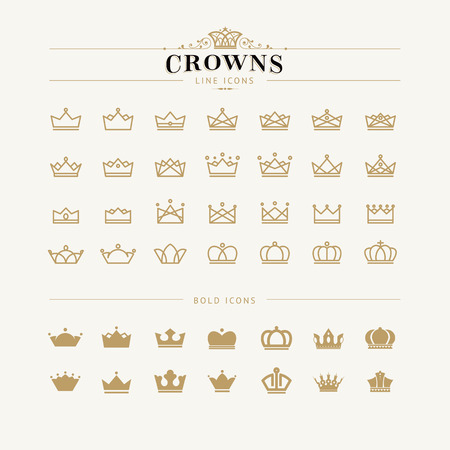 royal family: Set of crown line and bold icons     Illustration