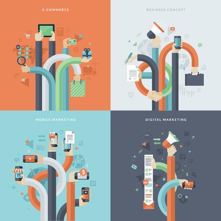 상업: 비즈니스와 마케팅을위한 평면 설계 개념 아이콘의 집합입니다. 온라인 상거래, 모바일 마케팅, 비즈니스 및 디지털 마케팅에 대 한 아이콘입니다. 웹, 모바일 서비스 및 애플 리케이션을위한 개념.