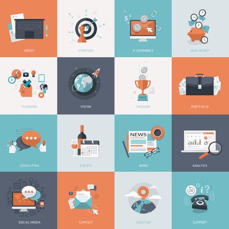 비즈니스를위한 평면 설계 개념 아이콘의 집합입니다. 웹 사이트 개발 및 휴대 전화 서비스 및 응용 프로그램에 대 한 아이콘입니다. 일러스트