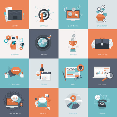 business support: Set of flat design concept icons for business. Icons for website development and mobile phone services and apps.     Illustration