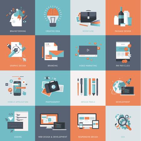 웹 사이트 개발, 그래픽 디자인, 브랜딩, 검색 엔진 최적화, 웹 및 모바일 앱 개발, 마케팅 및 전자 상거래를위한 평면 설계 개념 아이콘의 집합입니다. 일러스트