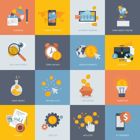 Set flache Design-Konzept Symbole für Finanzen, Bankwesen, Online-Bezahlung, Online-Handel. Icons für Website-Entwicklung und Handy-Dienste und Apps.