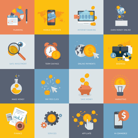 Set of flat design concept icons for finance, banking, online payment, online commerce. Icons for website development and mobile phone services and apps.     Ilustração