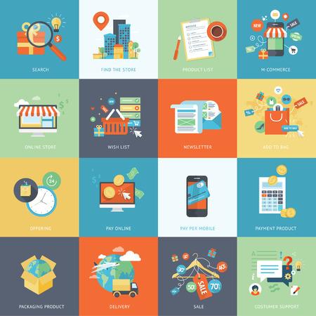 shopping: Conjunto de modernos iconos de concepto dise�o plano para ir de compras en l�nea. Vectores
