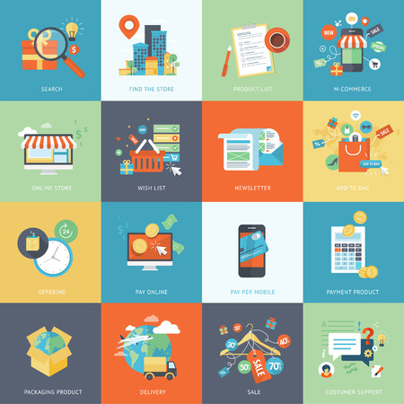 Set of modern flat design concept icons for online shopping.