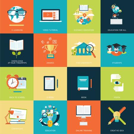 educaci�n en l�nea: Conjunto de iconos modernos de concepto dise�o plano para una amplia gama de servicios Vectores