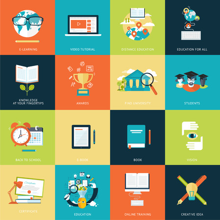 Set of modern flat design concept icons for a wide range of services Illustration