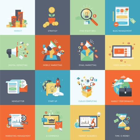 estrategia: Conjunto de modernos iconos concepto de diseño plano para la comercialización.