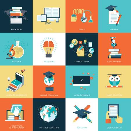 oktatás: Állítsa be a lapos kivitel ikonok az oktatás. Illusztráció