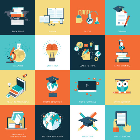 conocimiento: Conjunto de iconos de diseño plano para la educación. Vectores