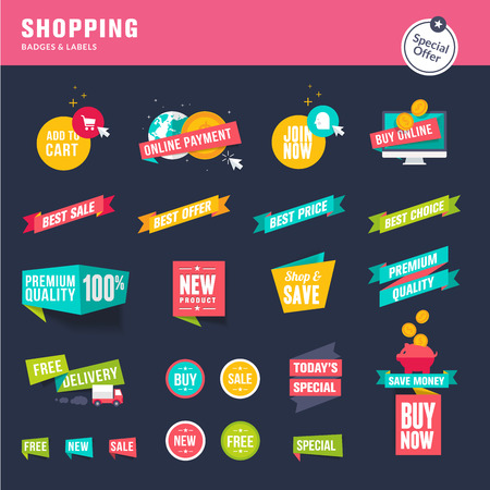 e new: Set of flat design stickers and ribbons for shopping Illustration