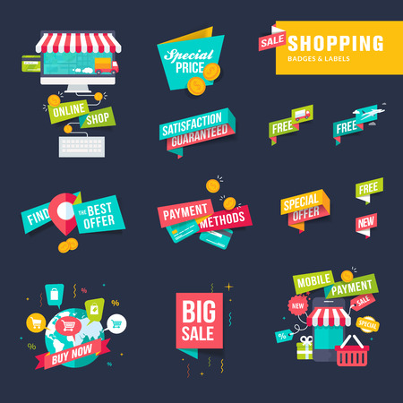 e business: Set of flat design shopping badges and labels