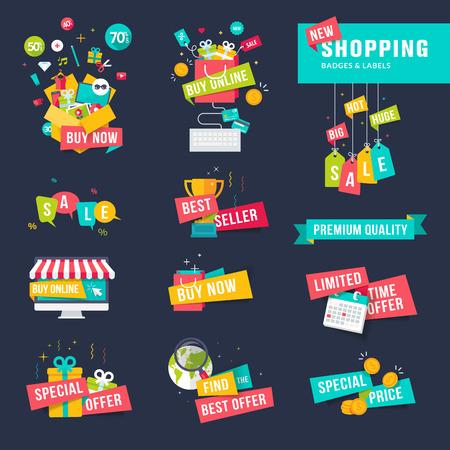 쇼핑을위한 평면 설계 배지와 리본 집합
