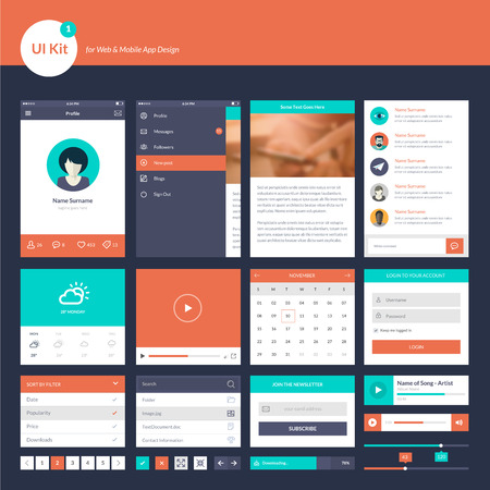 UI and UX kit for website and mobile app designs Vector