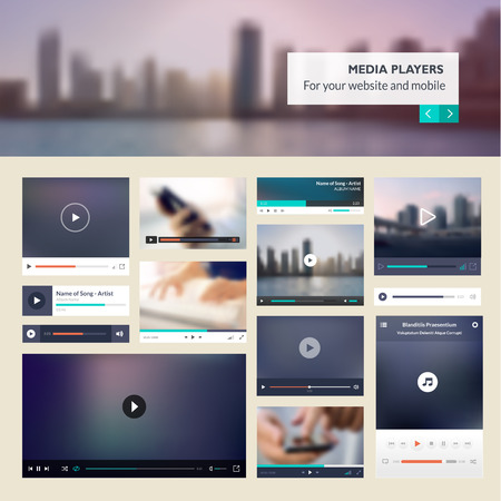 template: Set of media players for websites and mobile websites design