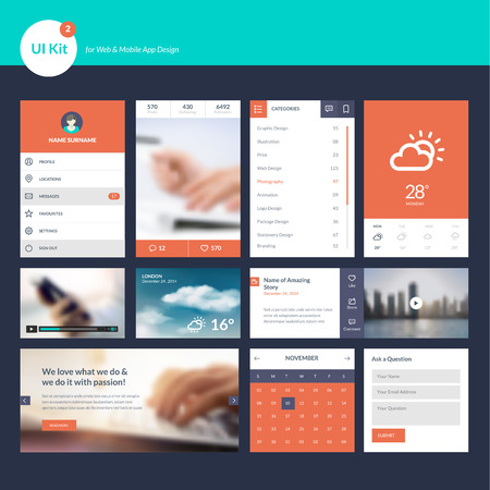 template: Set of flat design UI and UX elements for website and mobile app design Illustration
