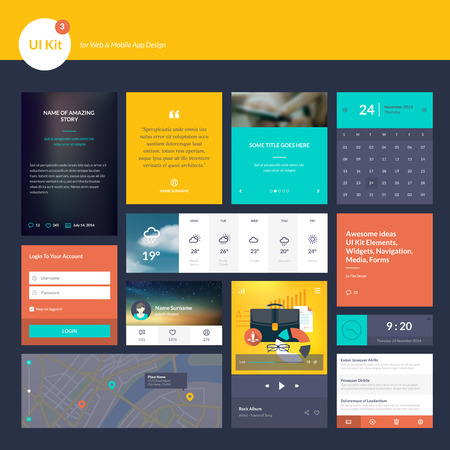 categories: Set of flat design elements for website and mobile app design development
