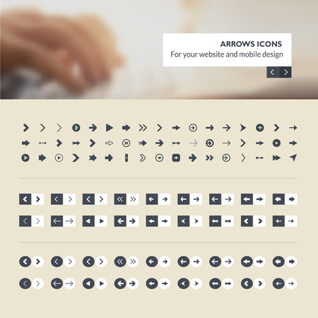 Set of arrows icons for website and mobile app design development Illustration