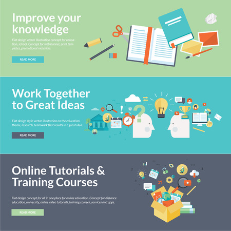 computer training: Flat design illustration concepts for education Illustration