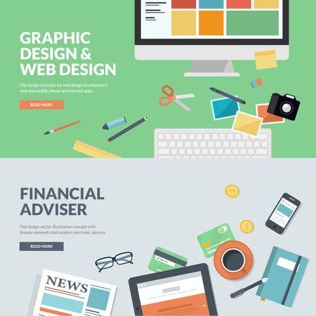 e market: Flat design illustration concepts for graphic design and web design development, and financial adviser Illustration
