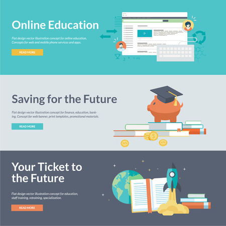 Flat design illustration concepts for online education, staff training, retraining, specialization, finance, banking, student loans, marketing Çizim