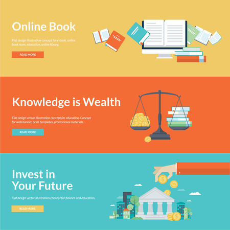 knowledge: Flat design vector illustration concepts for education