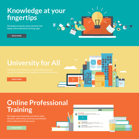 Flat design illustration concepts for online education,online professional training courses, staff training, retraining, specialization, university, distance education, tutorials Ilustração