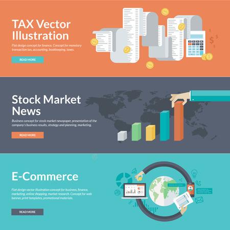 impuestos: Piso conceptos de diseño de ilustración para los negocios y las finanzas. Vectores