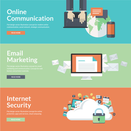Flat design illustration concepts for online communication, social network, strategic communication, email marketing, online protection, internet security, cloud computing Vettoriali