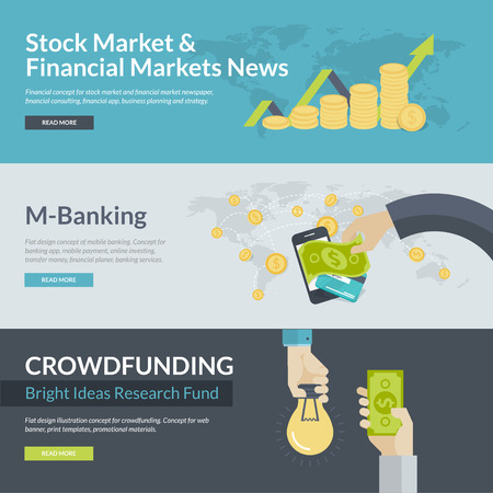 stock illustration: Flat design illustration concepts for business, finance, stock market and financial market news, consulting, business planning and strategy, m-banking, online investing, mobile payment, crowd funding